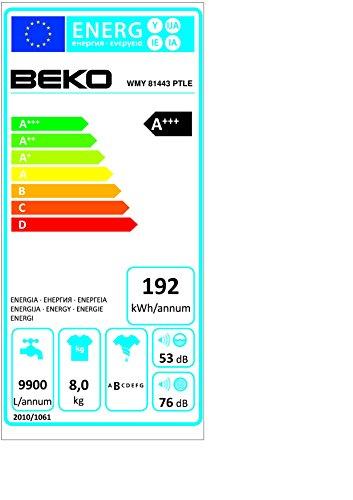 Beko WMY 81443 PTLE Waschmaschine FL / A+++ / 192 kWh/Jahr / 1400 UpM / 8 kg / LC-Display / weiß - 2