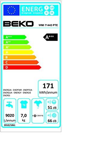 Beko WMI 71443 PTE Waschmaschine FL / A+++ / 171 kWh/Jahr / 1400 UpM / 7 kg / 9020 L/Jahr / Haustier Haarentfernung / weiß - 2