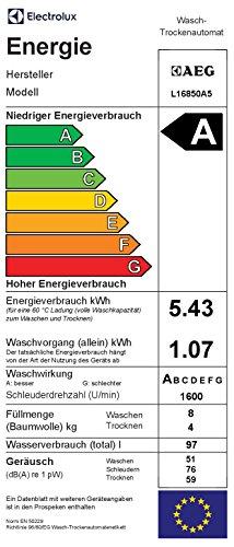 AEG L16850A5 Waschtrockner / A / 1600 UpM / 1086 kWh / 8 kg Waschen / 4 kg Trocknen / Dampfprogramme / 1kg in 60 Min.-Programm / Aqua-Alarm / weiß - 2