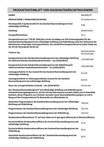 Bauknecht TK EcoStar 8 A+++ Wärmepumpentrockner / 4 Jahre Herstellergarantie / 8 kg / A+++ / weiß - 3
