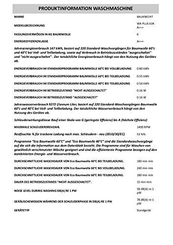 Bauknecht WA PLUS 634 Waschmaschine Frontlader / A+++ / 2+2 Jahre Herstellergarantie / 1400 UpM / 6 kg / Weiß / Startzeitvorwahl / 15-Minuten-Programm / Farbprogramme - 3