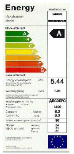 Indesit XWDE 861480X W DE Innex Waschtrockner / 1088 kWh/Jahr / 10000 Liter/Jahr / 8 kg Waschen / 6 kg Trocknen / Inverter-Motor / weiß - 2