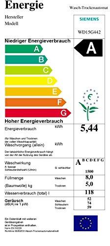 Siemens WD15G442 Waschtrockner / 1088 kWh / 8kg Waschen / 5kg Trocknen / Großes Display mit Endezeitvorwahl / weiß - 2